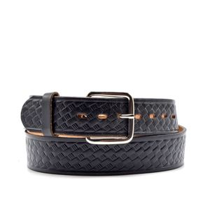 Other - Leather Black Woven Print Embossed Belt